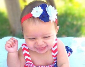 4th of july headband, red white and blue headbabd, forth of july headband, patriotic headband, baby headband, holiday headband