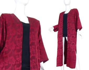 80s Red Silk Duster Jacket by Marc D'Alcy - Oversized Boho Chic Designer Wine Colored Minimalist Long Women's Kaftan