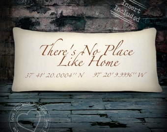 """Map coordiante pillow, """"There's no place like home,""""Latitude Longitude pillow, personalized, latitude longitude coordinate pillow"""