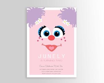 Modern Abby Cadabby Birthday Invitation - Sesame Street Invite, Abby Cadabby Invite, Abby Cadabby Party, Abby Cadabby Invitation