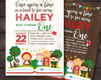 Little red riding hood party, Storybook Invitation, Red Riding Hood Invitation, Once upon a time Invitation, Digital, 2 Options