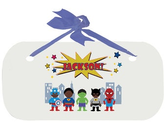 Personalized Boys Door Sign with African American Super Hero Design WPLAQ-blu-227c