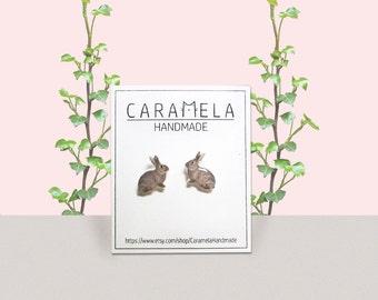 Rabbit stud earrings Bunny Stud Earrings Animals stud earrings Cute earrings Bunny Jewelry Rabbit Gift Idea