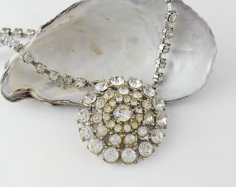 Vintage Diamante Necklace - Bridal Necklace - Rhinestone Necklace - Something Old - Gift for Women - Wedding Jewelry - Mother's Day Gift