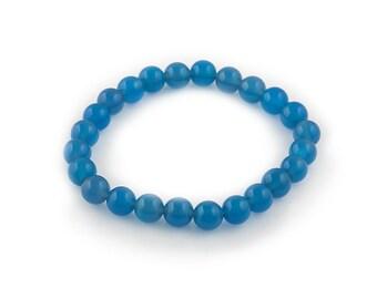 elastic bracelet Prussian blue agate 8mm   beads | stretch beaded bracelet semi precious stones