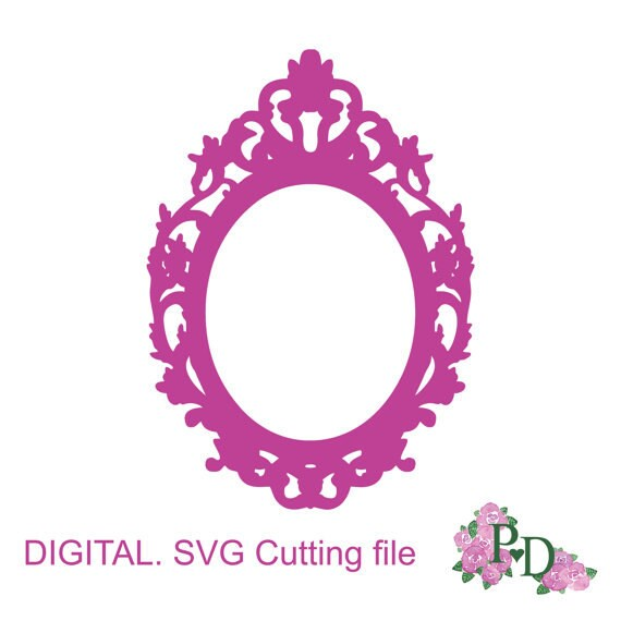 SVG DXF Frame Vintage Oval Photo Cutting Template Instal Download Dies Silhouette Cameo EasyCutPrintPD