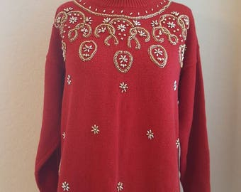 VINTAGE// Ugly Christmas sweater// 90's// Christmas party// Red// gold beads// size medium// mock neck// tunic