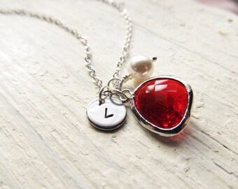 January Birthstone Gift, Red Garnet Necklace in Silver, Charm Necklace for January Birthday Present, Initial Charm, Birthstone and Pearl