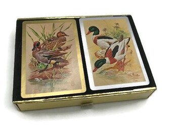 Congress playing cards-mid century- double deck- ducks in box-mallards-flocked box with ribbon