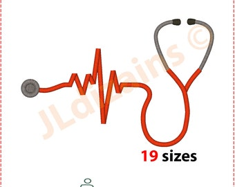 Stethoscope Embroidery Design. Embroidery stethoscope. Nurse embroidery. Embroidery designs stethoscope. Machine embroidery design.