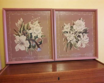 "Pair of large Turner Floral Prints - Signed - 1940's - 17""X19"" - Prints VG - Frames Good"