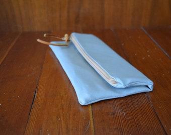 Gray Canvas Foldover Clutch / Tan Zipper / Minimalist Clutch