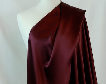 """100% Silk Fabric By the1/2 Yard 45"""", Wine 19mm Mulberry SIlk Charmeuse"""