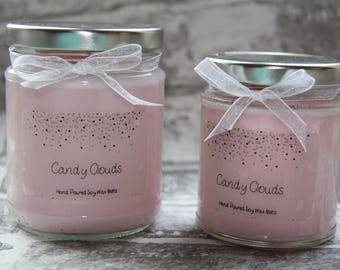 Candy Clouds Scented Soy Wax Candles, Jar Candles, Container Candles, Wood wick candles