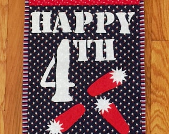 Happy 4th of July Quilted and Appliqued Wall Hanging