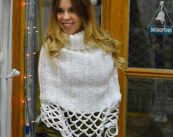 knit capelet poncho cape Hand knit poncho white fringe poncho white knit cape gift for her