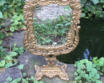Vintage  Stand Mirror, Vintage Swivel Mirror, Ornate Mirror, Vintage Vanity Mirror, Cast Mirror