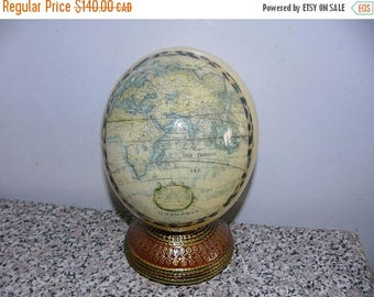 ON SALE Vintage Decorated Ostrich Egg