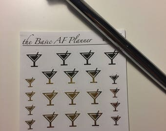 """FOILED Martini Glasses """"Shots Everybody!"""" 