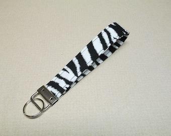 Zebra key fob, Zebra key chain wristlet, Safari key fob, Animal key wristlet
