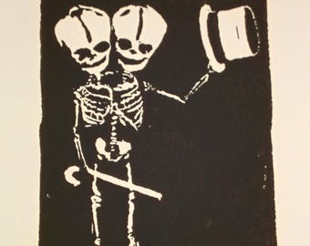 Skeleton Art Print, Skeleton Art, Fine Art, Conjoined Twins, Siamese Twins, Carnival, Circus, Surreal, Weird, Unique Gift for Him, Handmade