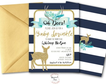 Oh Deer Baby Sprinkle Invitation // It's a Boy // Fawn Invitation // Boy // Blue // Navy // Woodland // Gold Glitter // OXFORD COLLECTION