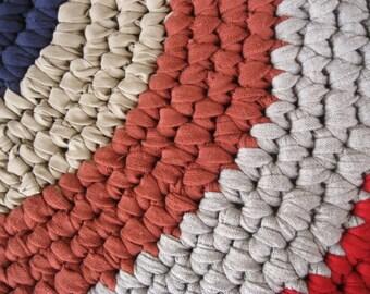 ON SALE Handmade Crochet Cotton Patriotic Rug / Carpet for Bathroom / Kitchen / Entry / Bedroom / Nursery / Child's Room