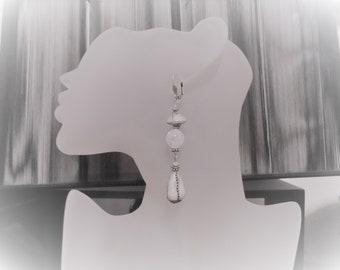 Long earrings, white, black Raku ceramic beads, gemstones, Quartz rock crystal, antique silver