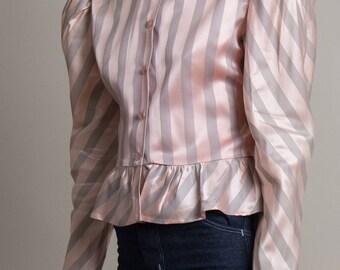 Vintage 70s Satin Striped Poet Sleeve Blouse