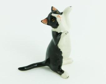 Miniature Ceramic Cat - Ceramic Hand Painted - Ceramic Cat Figurine - Black And White Cat Collection