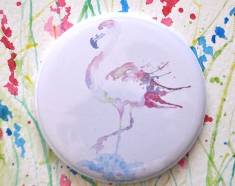 Watercolor Pocket Mirror, Flamingo Watercolor Mirror, Small Mirror, Gift for Her, Wedding Favour, Party Favour, Bridesmaid Gift