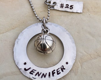 Hand Stamped Stainless Steel custom personalized basketball necklace, basketball charm, senior gift, basketball team gift, basketball charm