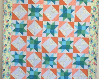 Sparkling Stars Throw or Toddler Quilt by Dreamy Vintage Sheets