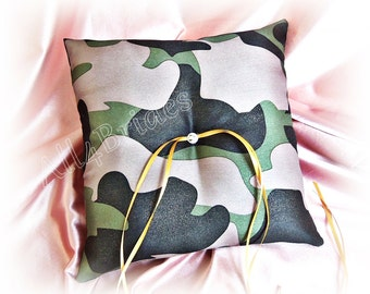 Camo wedding ring bearer pillow - Camouflage wedding ring cushion - woodland or military wedding decorations