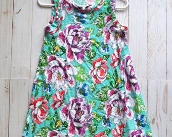 Teal Floral Maxi Dress 2T/3T