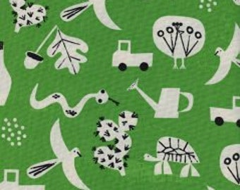 SPECTACLE Unbleached Cotton By Christian Robinson  for Cotton and Steel Fabrics Flourish Green