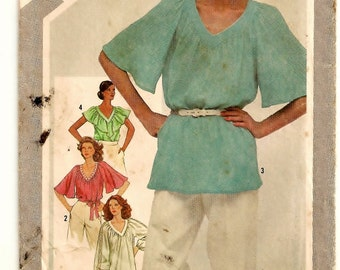A V-Neck, Short Flutter Sleeve, Long Sleeve, or Sleeveless Ruffled Capelet Tunic / Top Pattern for Women: Uncut - Size 10 • Simplicity 5108