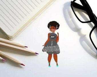 Resist Planner Sticker, African American Girl Stickers