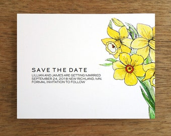 Save the Date Cards, Save the Date, Printable Save The Date, Floral Illustration, Wedding, Daffodil, Digital Download, Flower, Yellow Flower