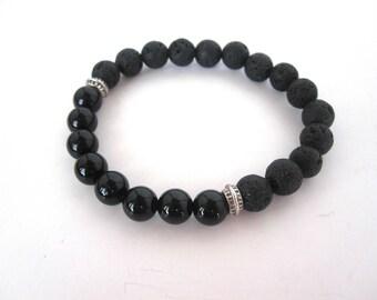 Black Onyx Lava Stone Bracelet, Lava Stone Jewelry, 8mm Stretch Bracelet, Black Bracelet Jewelry, Diffuser Bracelet Diffuser Jewelry
