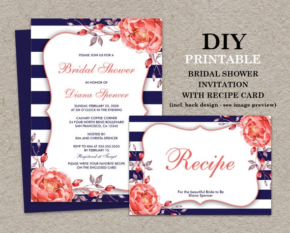 Navy and coral bridal shower invitation with recipe card te gusta este artculo filmwisefo Image collections