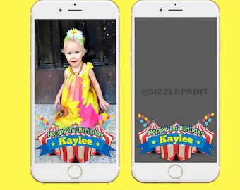 CIRCUS CARNIVAL GEOFILTER Plus Family & Friends Message   Custom Personalized Snapchat Geofilter   Boy Girl Circus Carnival Birthday Party