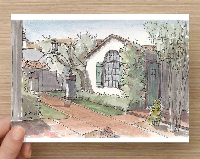 Pen and Ink and Watercolor Painting of La Plaza Alleyway in Palm Springs, California - Architecture, Flowers, Tile Roof, Drawing, Art