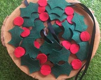 Holly Christmas felt garland festive