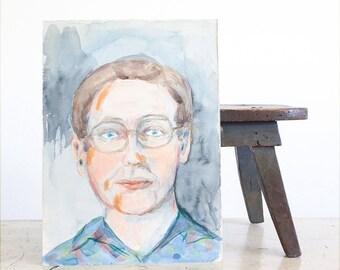 Vintage Portrait of a Man / Watercolor Painting / Original 1970's Outsider Art
