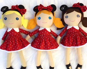 Custom Handmade Minnie Mouse Doll, Personalized Rag Doll, Disney Girl Trip Gift, Toddler Girl Gift, Minnie Mouse Birthday, Baby Shower gift