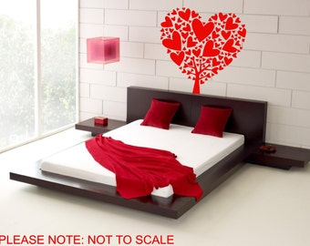 Heart Tree - Wall Decal - Wall art Sticker - ( Red outline shown )