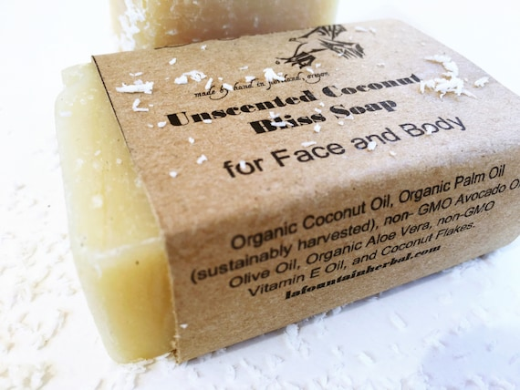 Unscented Coconut Bliss Soap - Organic Face and Body Soap
