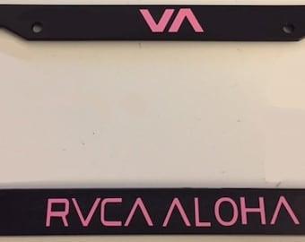Va RVCA Aloha Version   -Limited Edition Automotive Black with Pink License Plate Frame -