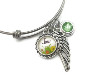 Sympathy Gift with Flowers and Birthstone, Personalized Memorial Jewelry, Memorial Bracelet with Angel Wing, Remembrance Bracelet, Sympathy